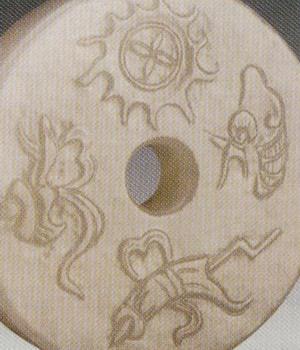 在玉器中,一般以阴刻或浅簸箩纹清代玉器装饰纹样,形似以柳条编的簸箩